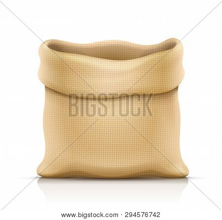 Burlap Sack For Products. Housekeeping And Agriculture Equipment. Open Hessian Bag For Cargo. Isolat