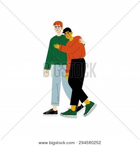 Happy Gay Couple, Two Men Hugging, Romantic Homosexual Relationship Vector Illustration