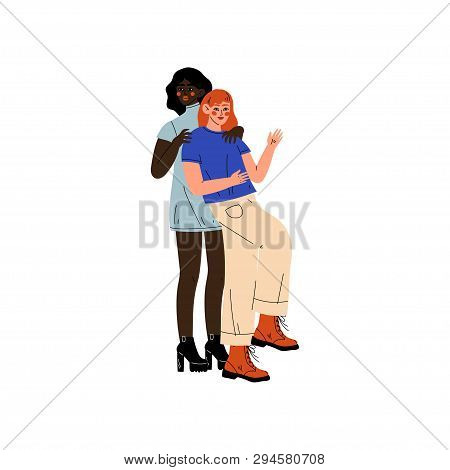 Interracial Lesbian Couple, Two Happy Women Hugging, Romantic Homosexual Relationship Vector Illustr