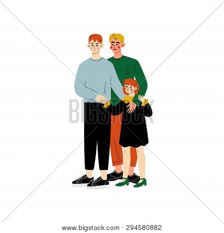 Gay Family, Two Men And Their Daughter Standing Together, Happy Homosexual Family With Kid Vector Il