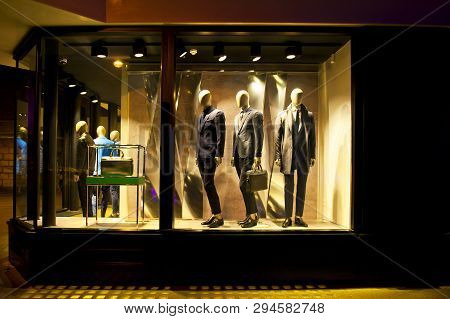 Shop Window With Male Fashion In Cambridge, England