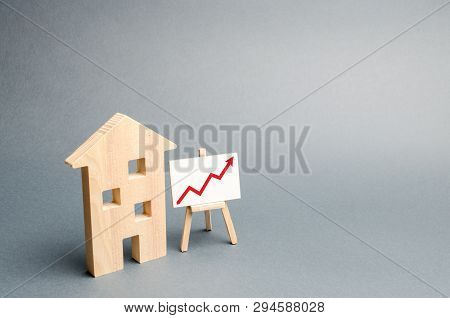 Wooden House And Stand With Red Arrow Up. Growing Demand For Housing Real Estate. Growth Of The City