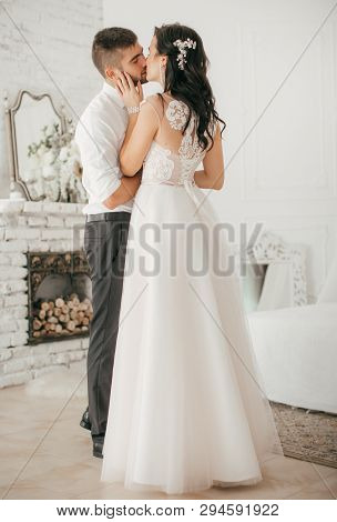 Happy Bride And Groom On Their Wedding. Stock Photo