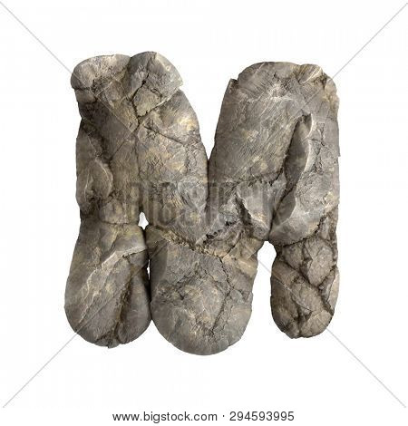 Rock letter M - Upper-case 3d boulder font isolated on white background. This alphabet is perfect for creative illustrations related but not limited to nature, ecology, environment...
