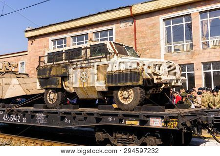 Perm, Russia - April 10, 1019: Improvised Armored Car Of Isis Militants Seized As A Trophy By The Ru