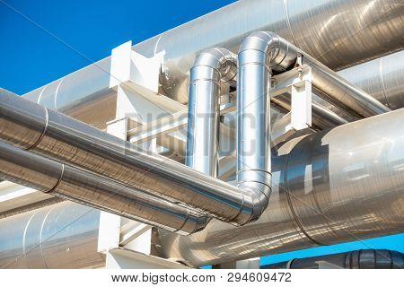 Chiller Or Steam Pipeline And Insulation Of Manufacturing In Oil And Gas Industrial, Petrochemical D