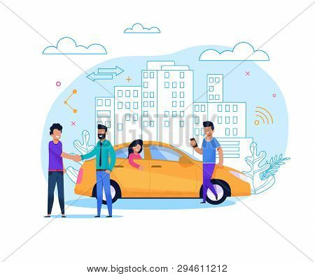Yellow Uber Taxi Share. Businessman Order Vehicle On Street By Smartphone App. Modern Transport Rent