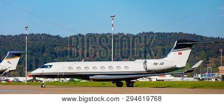 Kloten, Switzerland - September 29, 2016: A Gulfstream G650 Airplane At Zurich Airport. The Gulfstre