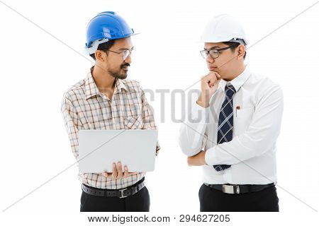 Two Engineer, Worker Man, Mustache And Beard, Table Striped Shirt, Blue Helmet Talking With Young Bo