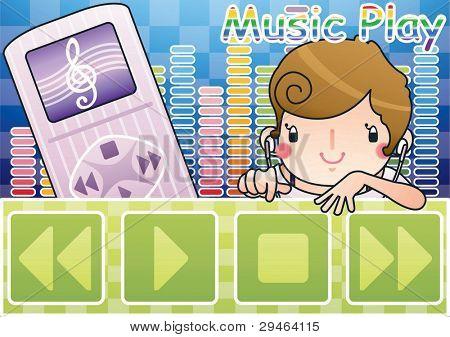 Bonitinho sorrindo rapariga com canção feliz no fundo do vitrola bonito