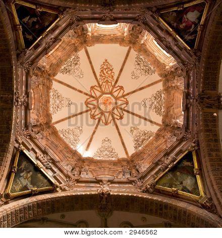 Pink Dome Inside Valencia Church Guanajuato Mexico