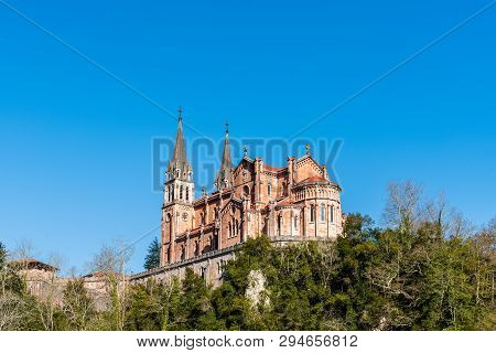 Covadonga, Spain - March 31, 2019: Basilica Of Covadonga. The Sanctuary Of Covandonga Is A Monument