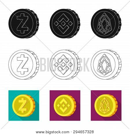 Isolated Object Of Cryptocurrency And Coin Symbol. Set Of Cryptocurrency And Crypto Vector Icon For