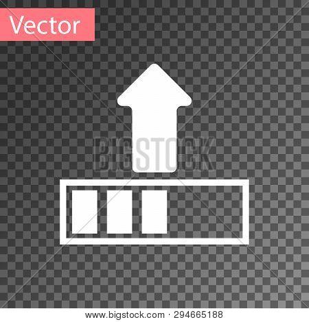 White Loading Icon Isolated On Transparent Background. Upload In Progress. Progress Bar Icon. Vector