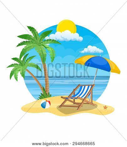 Umbrella And Sun Lounger On The Beach And A Palm Tree. Beach Chair, Ball And Starfish With Sea On Tr