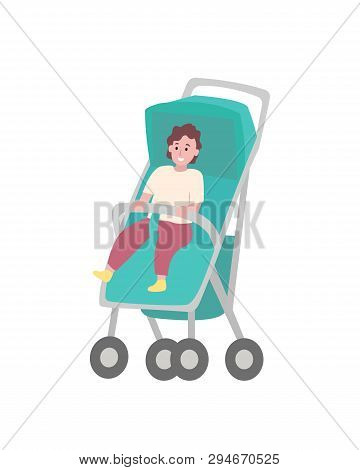 Child Sitting In Stroller Isolated Cartoon Baby. Toddler In Walking Carriage, Vector Young Kid In St