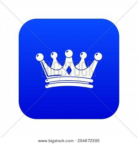 Regal Crown Icon Blue Vector Isolated On White Background