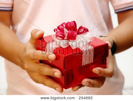 Men Giving The Present