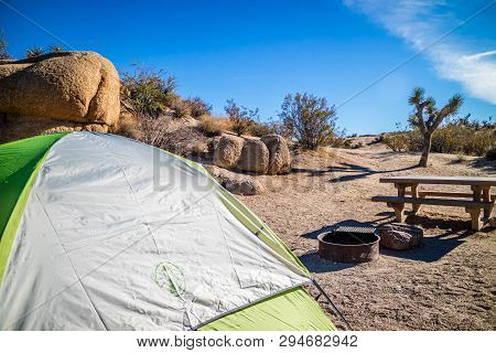 A Green And White Tourist Tent With A View Of Nature In Joshua Tree National Park