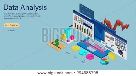 Online Statistics And Data Analytics Concept Banner, Landing Page Template. Laptop With Data Analysi