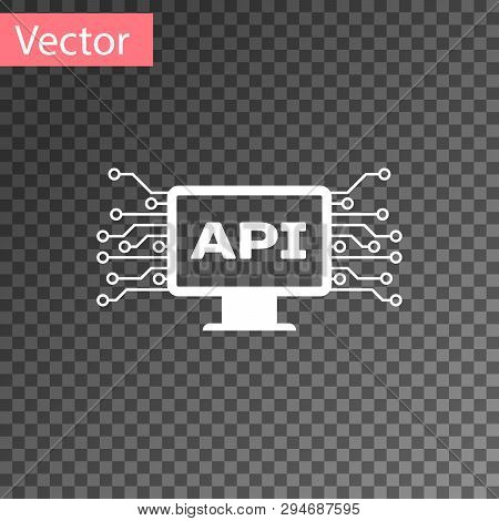 White Computer Api Interface Icon Isolated On Transparent Background. Application Programming Interf
