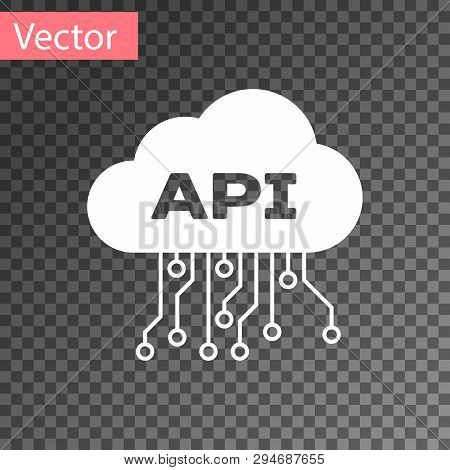 White Cloud Api Interface Icon Isolated On Transparent Background. Application Programming Interface