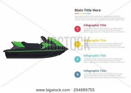 Jetski Sport Transportation Infographics Template With 4 Points Of Free Space Text Description - Vec