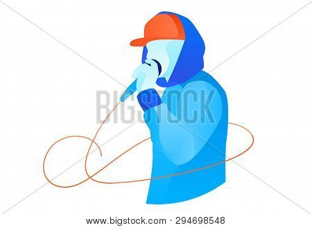 Youngster In Snapback And Hoodie Performing Beatbox. Colorful Beatbox Battle Illustration For Banner