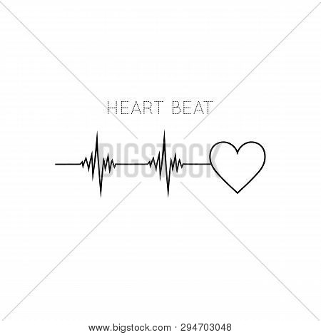 Heart Beat Icon In Flat Style. Ekg Symbol For Your Web Site Design, Logo, App, Ui Vector Illustratio