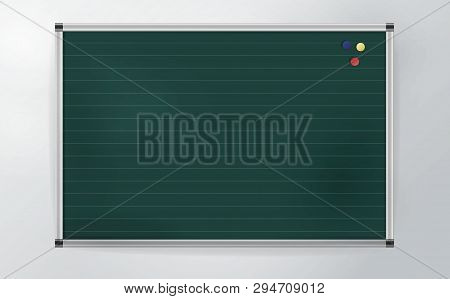Green School Board With Decorative Green Layer Isolated On Light Gray Background. One Element Green
