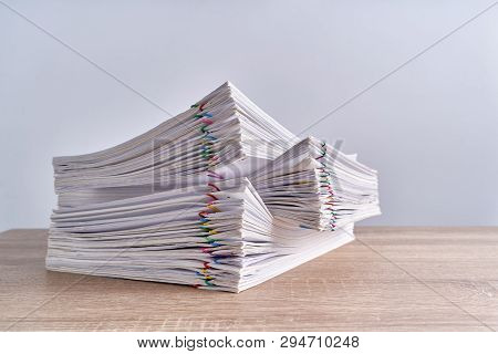 Pile Overload Paperwork Report Of Receipt On Wood Table