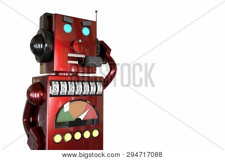3d Illustration: Red Metal Robot In Headphones With Headset Calls Customers With Annoying Ads, Dials