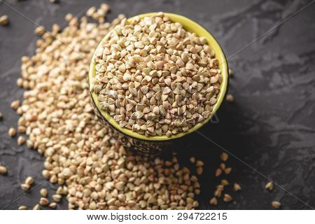 Organic Food Cereals Green Buckwheat. Vegan Nutritious And Healthy Product. Concept Of Products For
