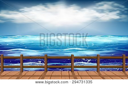 Landscape Of Wooden Walkway At The Beach