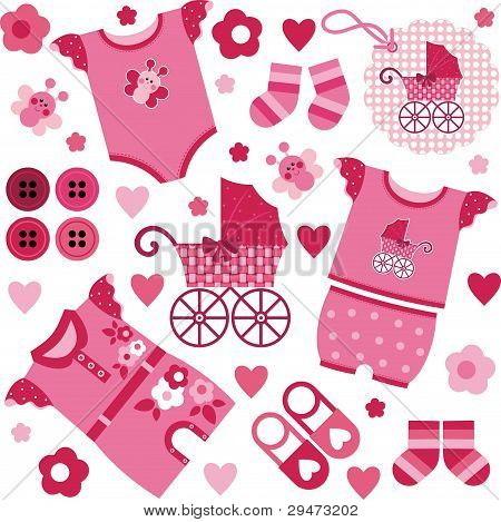 children's clothes and stroller