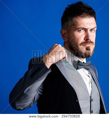 Confident And Intelligence. Businessman With Beard In Bow Tie. Esthete. Stylish Art Director. Busine