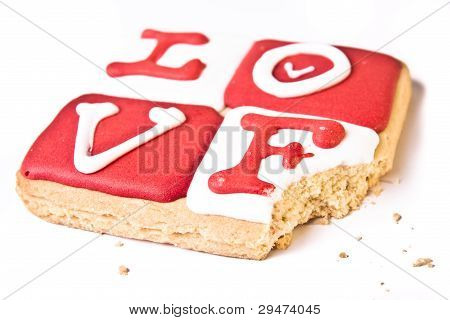 Valentine's Day Cookie With A Bite Taken