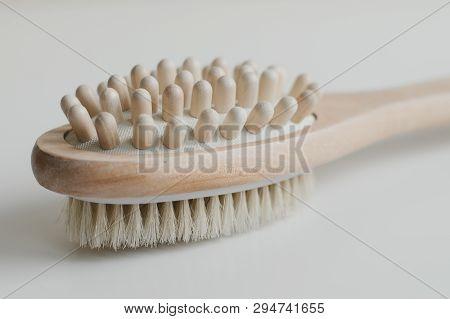 Multipurpose Wooden Brush For Anti Cellulite Body Massage. Beauty Tool For Skincare