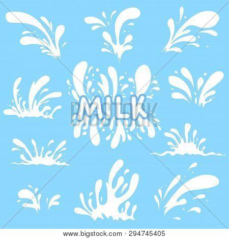 Milk Spray Set. Splash Of White Drops. Inscription - Milk. Cartoon Style.