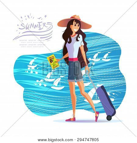 Young Girl Travels Around The World, The Sea, The Sun And The Beach
