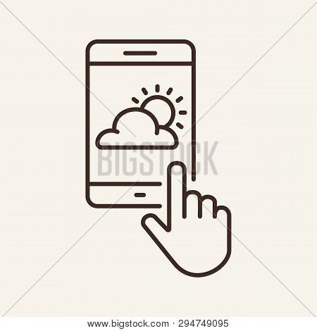 Mobile Weathers App Line Icon. Hand, Clod, Sun, Gadget. Meteorology Concept. Can Be Used For Topics