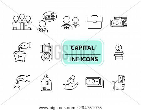 Capital Icons. Line Icons Collection On White Background. Piggy Bank, Investment, Earning. Money Con