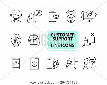Customer Support Line Icon Set. Operator, Technical Help, Computer, Smartphone. Digital Gadgets Conc