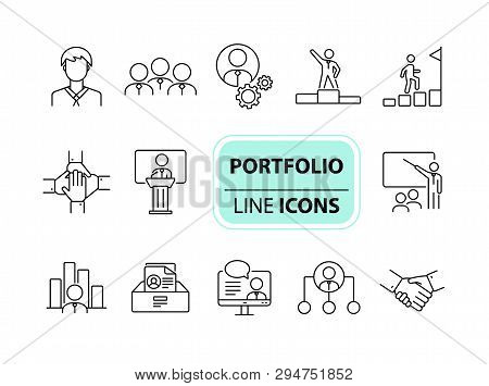 Portfolio Icons. Line Icons Collection On White Background. Conference, Resume, Presentation. Career