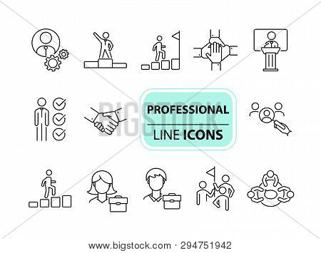 Professional Icons. Line Icons Collection. Employee Search, Business Group, Meeting. Leadership Conc