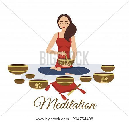 Girl Yoga Meditates With Tibetan Singing Bowls. Woman Plays Music. Relaxation After Yoga. Enlightenm