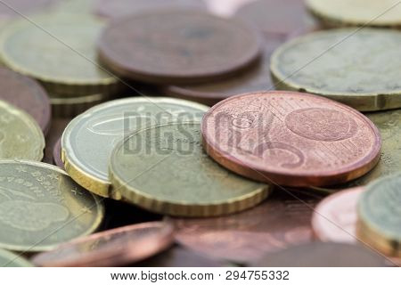 Macro Of Euro Cents Coins. Coins Of Fifty Euro Cents, Twenty Euro Cents And Five Euro Cents. Savings