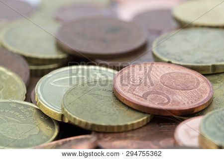 Euro Cents Coins With A Small Value. Savings Of Coins.
