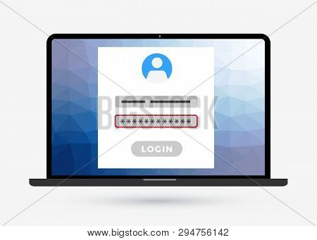Laptop Computer With Login Page On Screen And Wrong Password Error. Modern Flat Style Design Registr