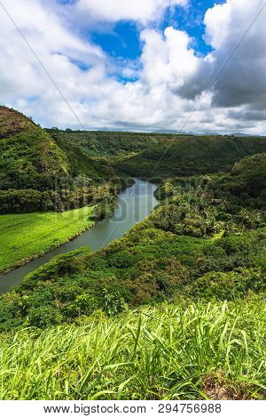 View Of Wailua River And The Green Hills In Kauai, Hawaii
